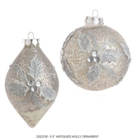 RAZ Imports - Antiqued Glass Holly Ornaments