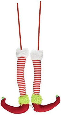 "Red, White & Green Elf Legs (A Pair) - 12.5"" Long - Christmas Tree, Garland or Arrangement Decoration - RAZ Imports - Peppermint Toy Theme"