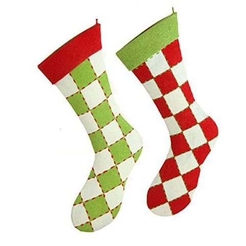 "RAZ Imports - 14"" Flocked Stocking Ornaments - Set of 2"