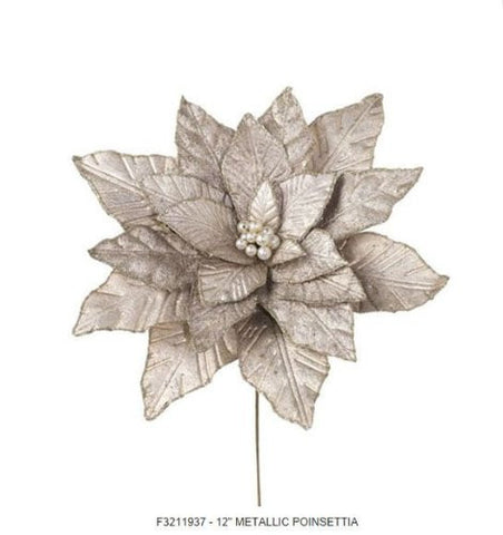 RAZ Imports - Champagne Colored Metallic Poinsettia Stem 13""