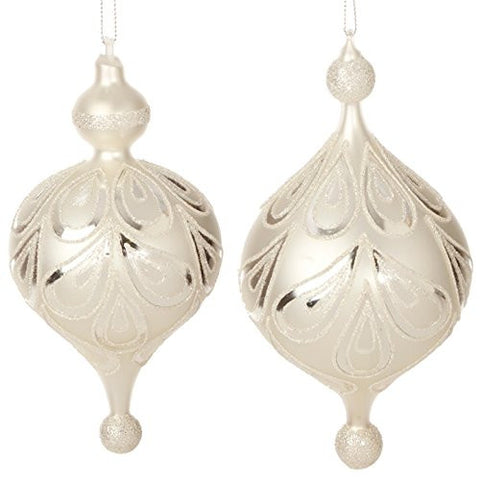 "RAZ Imports - Enchanted Holiday - Elegant - 7"" White and Silver Glittered Finial Christmas Tree Ornaments - Set of 2"