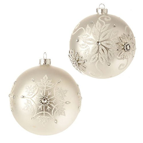 "RAZ Imports - 4"" Snowflake Design Christmas Tree Ball Ornaments - Set of 2"