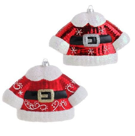 RAZ Imports - Glass Santa Suit Ornaments 6""