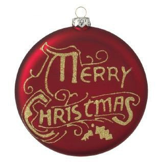 "RAZ Imports - Red & Gold ""Merry Christmas"" Glass Disc Ornament 4"""