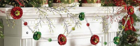 RAZ Imports - Red, Green and Silver Flower Tinsel Garland 6'