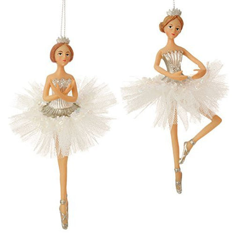 "Decorative 6.5"" Dancing Ballerina Christmas Ornaments - Set of 2"