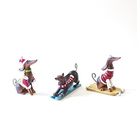 Perfectly Festive - Winter Sports (Skiing, Sledding & Skating) Dachshund Christmas Tree Ornaments - Set of 3
