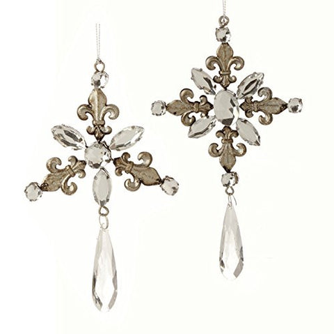 "RAZ Imports - 7.5"" Pewter Fleur De Lis Gem Drop Ornaments - Set of 2"