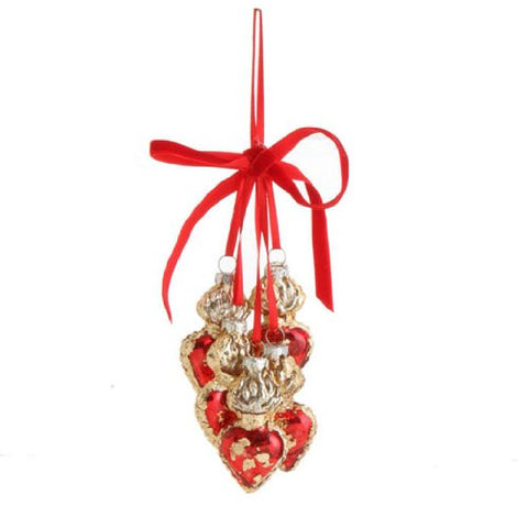 RAZ Imports - Gold and Red Milagro Cluster Ornament 8.5""
