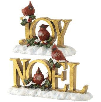 "RAZ Imports - ""JOY"" & ""NOEL"" Antique Gold Cardinal Signs"