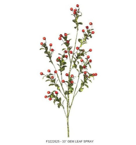 RAZ Imports - Glittered Green Leaf Spray With Red Gem Berries 33""