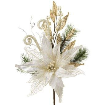RAZ Imports - Creamy White Poinsettia and Pine Spray 20""