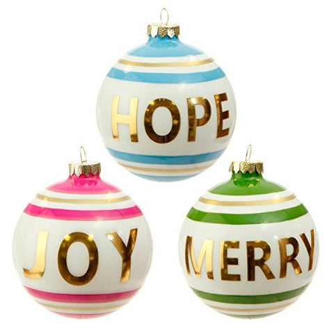 "RAZ Imports - 4"" Message Ball Christmas Ornaments"