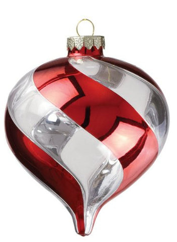 Sullivans - Clear Glass Red Swirl Kismet Ornament 5""