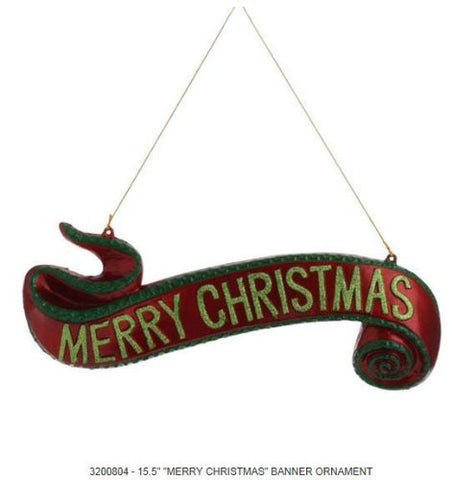 Red And Green Merry Christmas Scroll Ornament