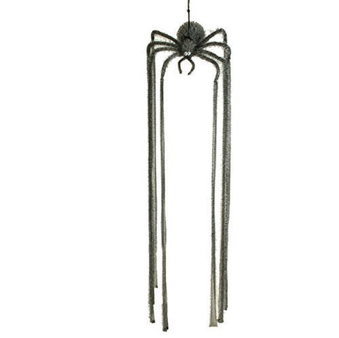 Giant Hanging Spider Halloween Decoration, Grey Fabric, 66 Inch Long Legs
