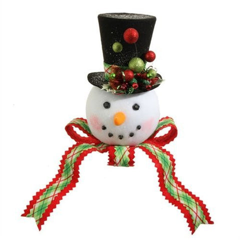 "RAZ 14"" PLAID SNOWMAN HEAD Tree Topper"
