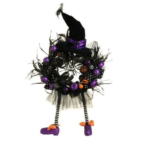 Halloween Witch's Hat and Legs / Feet Wreath with Ball Ornaments & Feathers, 39 Inches Tall X 18 Inches, Black, Purple & Orange