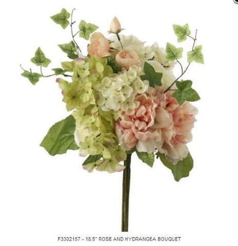 "RAZ Imports - 18.5"" Rose and Hydrangea Bouquet"