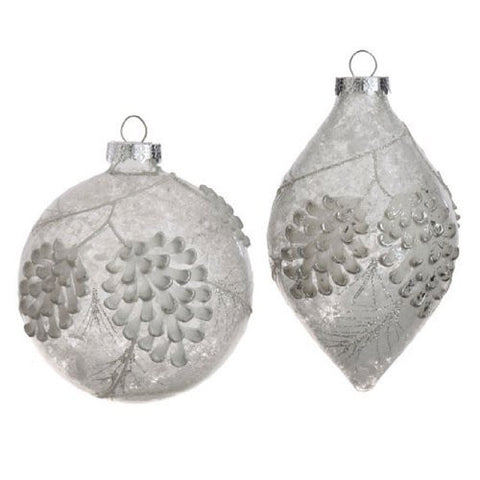 RAZ Imports - Clear Glass Pinecone Cluster Ornaments