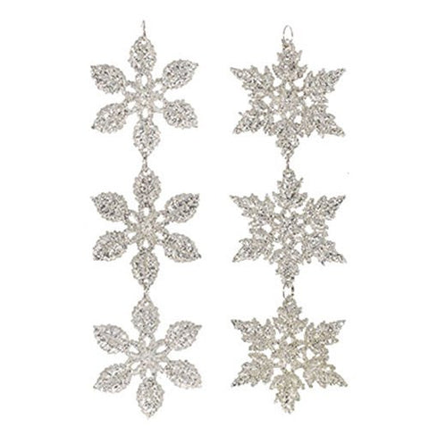 "RAZ Imports - 5.5"" Delicate Silver Glittery Snowflake Drop Christmas Tree Ornaments - Set of 2"