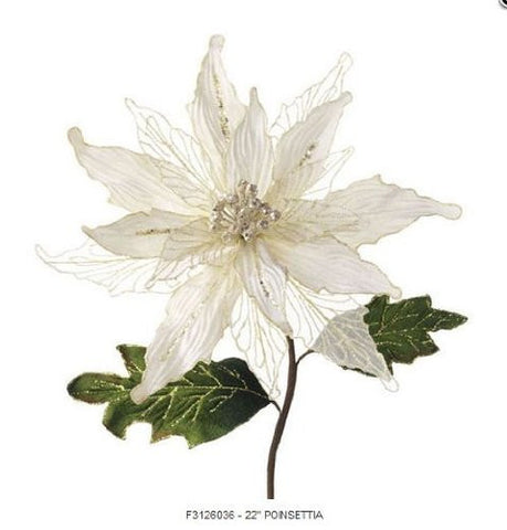 "RAZ Imports - 22"" White Christmas Poinsettia Stem"