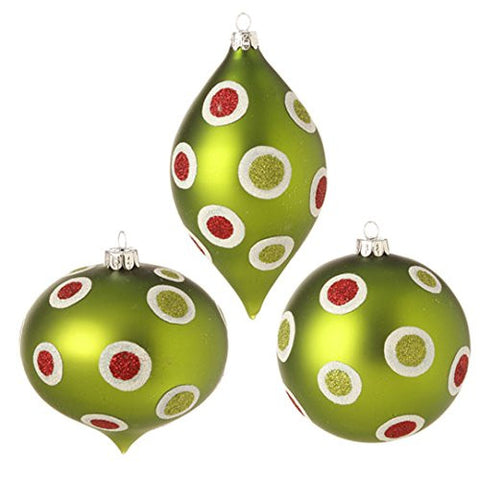 "RAZ Imports - 4"" Glittered Polka Dot Ornaments - Set of 3"