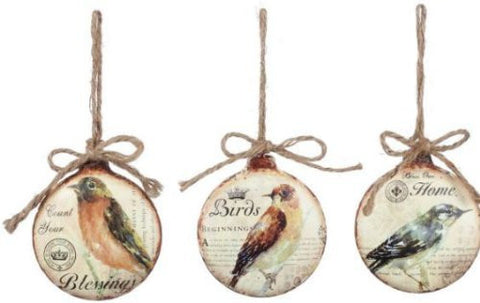 "Sullivans - 4"" Metal Disc Bird Ornaments"