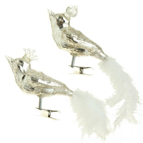 RAZ Imports - Antiqued Silver Glass Clip-On Bird Ornaments 6""
