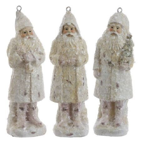 RAZ Imports - White Santa Claus Ornaments 6""