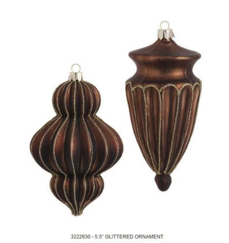 RAZ Imports - Brown with Gold Glitter Glass Finial Ornaments