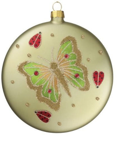 "Sullivans - 4"" Glass Butterfly & Lady Bug Disc Ornament"