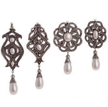 RAZ Imports - Medallion Ornaments with Pearl Drops