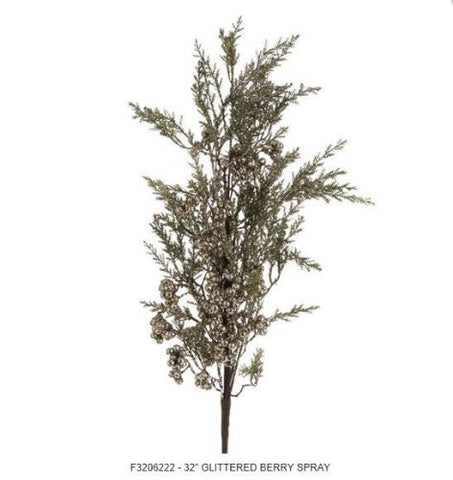 RAZ Imports - Glittered Berry Pine Spray 32""