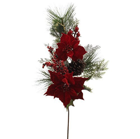 "RAZ Imports - 29"" Poinsettia with Pinecone & Berries Spray"