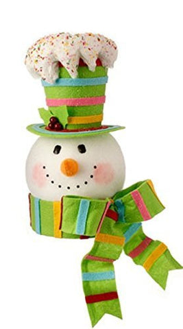 "RAZ 15"" LIME HAT Candy Sprinkles Snowman Head Tree Topper"