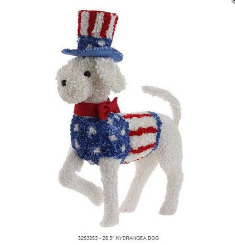 RAZ Imports - Patriotic White Dog with Uncle Sam Hat 26.5""