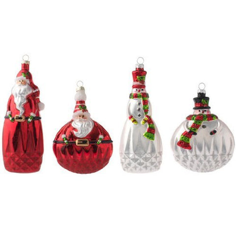 "RAZ Imports - 5.5"" Santa and Snowmen Glass Ornaments"
