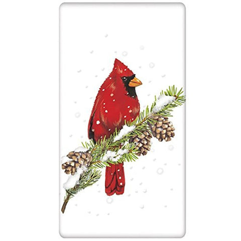 Mary Lake-Thompson - Cardinal On Pine Bagged Towel