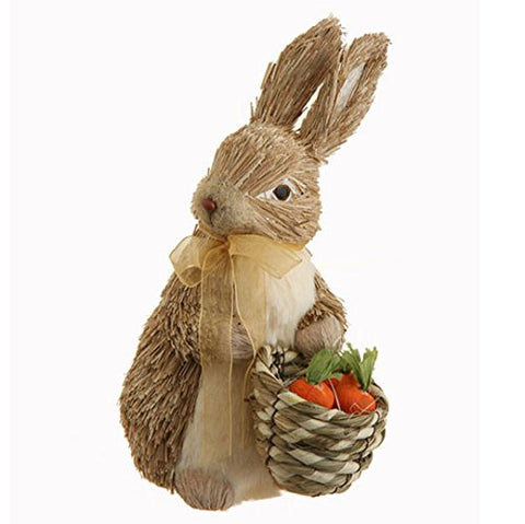 "RAZ Imports - Spring Easter - 9"" Rabbit with Carrot and Basket"