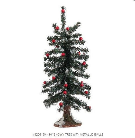 "RAZ Imports Christmas 14"" Snowy Tree With Metallic Balls"