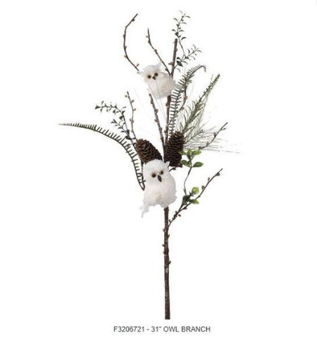 RAZ Imports - White Owls with Pinecone Branch 31""