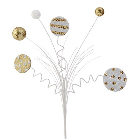 "RAZ Imports - 22"" White and Gold Glittered Ball and Disk Decorative Sprays"
