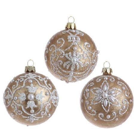 RAZ Imports - Gold Glass Ornaments with Pearls