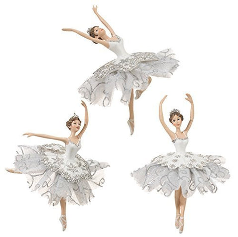 "RAZ Imports - Enchanted Holiday - Whimsy - Set of 3 White & Silver 6"" Dancing Ballerina Christmas Tree Ornaments"