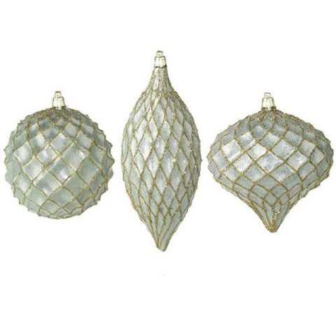 RAZ Imports - Sage Green with Gold Glitter Lattice Ornaments - Set of 3