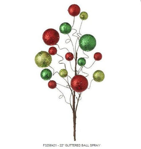 "RAZ Imports - 22"" Glittered Red & Green Ball Spray"