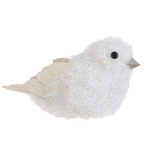 White Glitter Bird with Feathers Christmas Ornament, 5 Inches