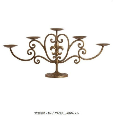 "RAZ Imports - 15.5"" Antique Gold Candelabra"