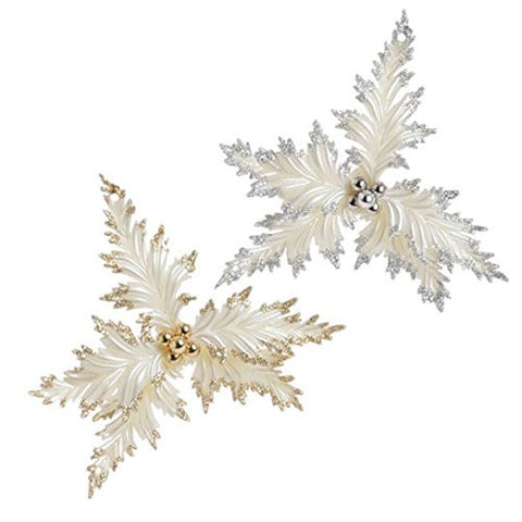RAZ Imports - Gold and Silver White Holly Christmas Tree Ornaments - Set of 2